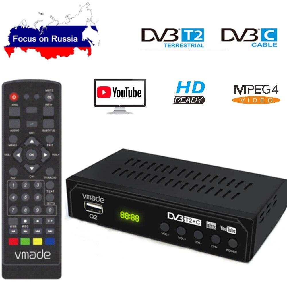 DVB-T2 DVB-C Digital TV Tuner Receiver WIFI 1080P HD Decoder TV Box DVB-T M3U H 264 Youtube TV Receptor Russian Set Top Box