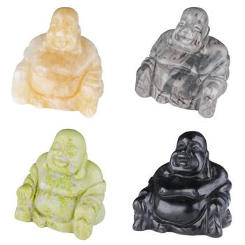 TUMBEELLUWA 1.5''Healing Gem Stone Laughing Buddha Statue Figurine,Hand Carved Amulet Pocket Stone for Feng Shui Home Decoration natural afghanistan white yu stone pendant with beads necklace carved maitreya laughing buddha women s amulet jewelry pendants