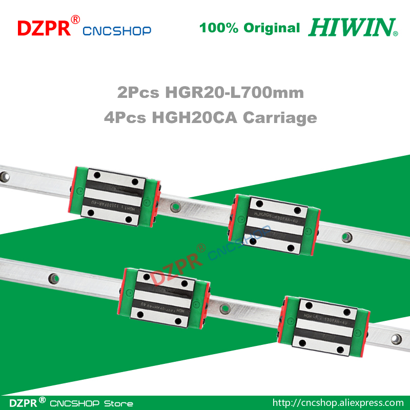 Original HIWIN HGR20 Linear Guide 700mm 27.56in Rail HGH20CA Carriage Slide for CNC Router Engraving Woodwork Laser Machine