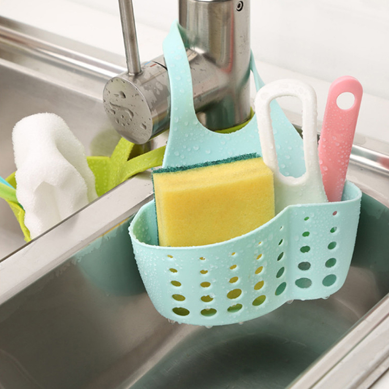 Kitchen Organizer Storage Sponge Basket Hanging Drainer Adjustable Kitchen Sink Snap Sink Kitchen Holder Bathroom Hanging Rack