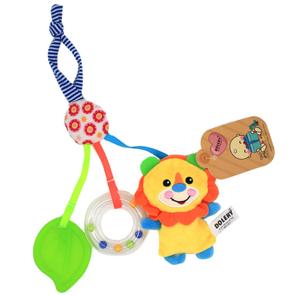 Infant Baby Rattle Cartoon Animal Models Baby Stroller Bed Hanging Hand Bell Cartoon Pendant Plush Educational Toys