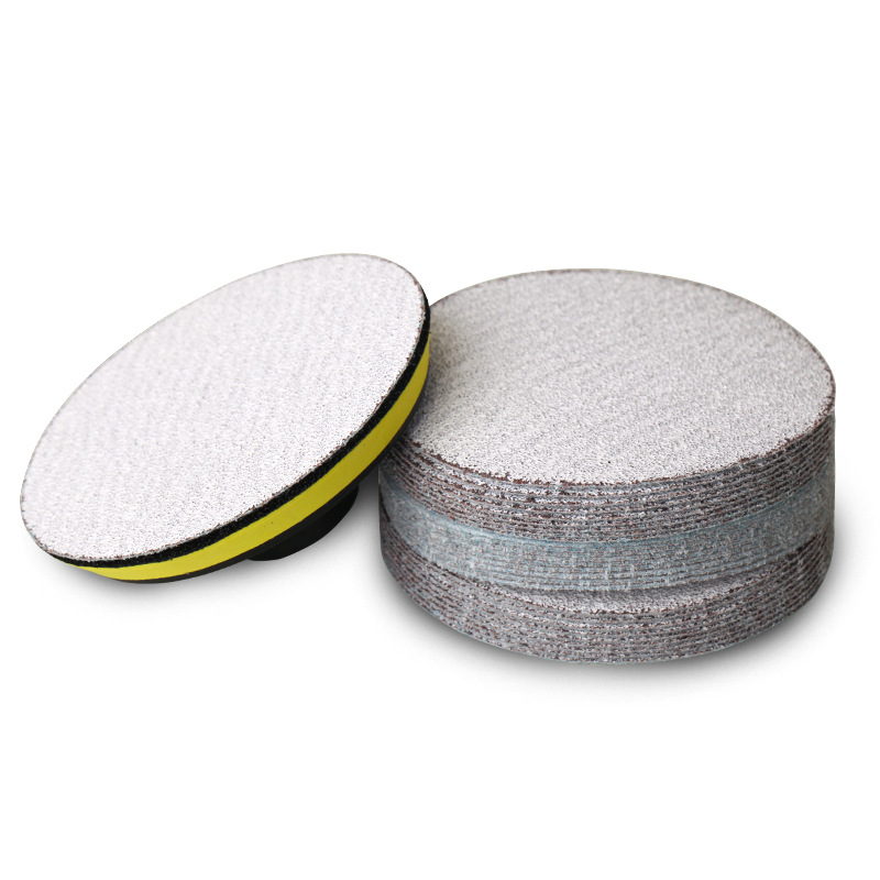 5-Inch 125 Size Bei Rong Round Plates Sandpaper Dry Sand Flocking White Sand SNAD Paper Disk Woven Nap Sandpaper