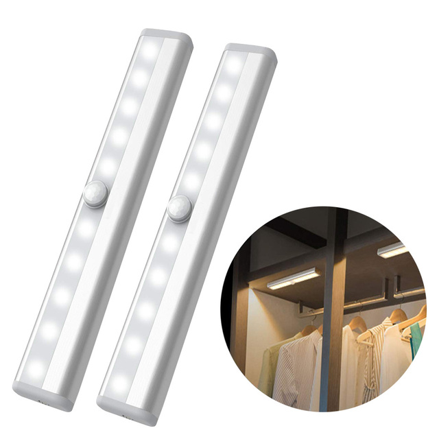 Lámpara de armario con Sensor de movimiento PIR de 6/10 LED, luz LED para debajo de gabinete de encendido/apagado automático para cocina, dormitorio, iluminación de armario, luces nocturnas