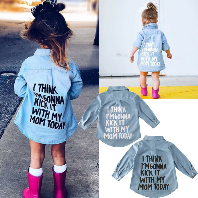 2-7 Year Baby Girl Denim Shirt Spring Autumn Toddler Kids Girls Tops Letter Printed Long Sleeve Blouse Warm Coat Outwear