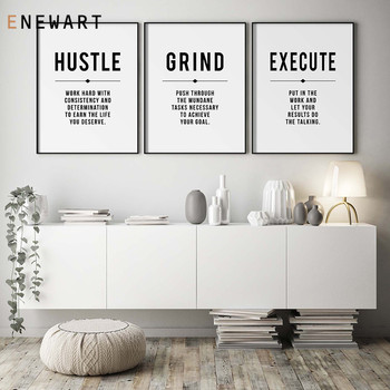 Minimalist Office Decorative Wall Art Hustle Grind Inspirational Quotes Canvas Poster Entrepreneur Gift Decor Painting Pictures image