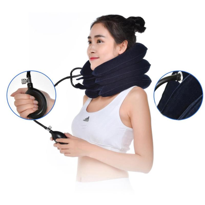 U Shaped 3-Layered Air Inflatable Pillow Car Air Cushion Neck Pillow Vertebrae Shoulder Relax Retractor Neck Support Massager