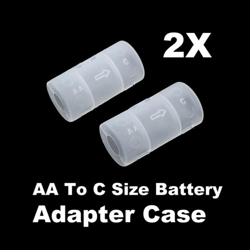 2 Pcs/Set Converter Adapter AA To C Size Battery Case White NC99