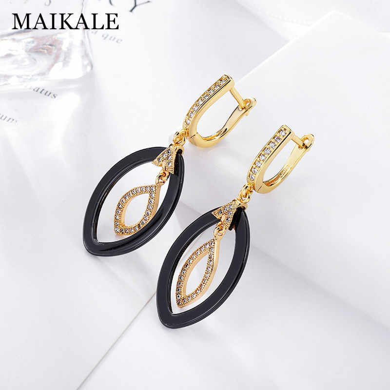 MAIKALE New Fashion Drop Earrings Copper AAA Cubic Zirconia Black White Ceramic Cushion Gold Silver Color Earrings For Women