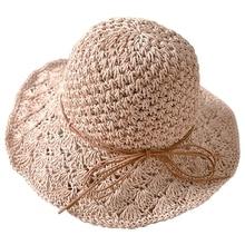 Женская широкополая соломенная шляпа от солнца, летняя пляжная шляпа с полями, Женская Складная крушаемая Кепка LX9E