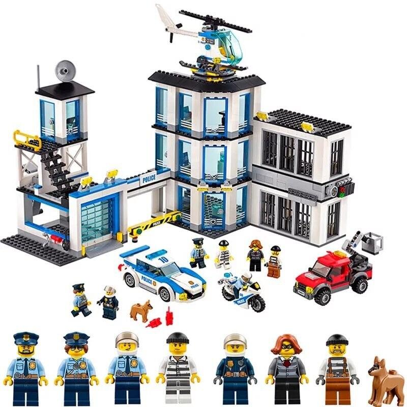 In Stock 10660 936pcs City Police Station Prison Island Bela Building Block Compatible Lepining 60141 Bricks Toy