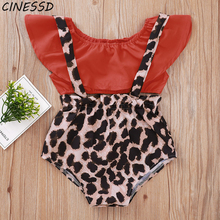 Summer Newborn Baby Clothes Set Toddler Girls Solid Tops+Leopard Print Straps Bodysuits 2Pcs Infant Costume Clothing Oufits