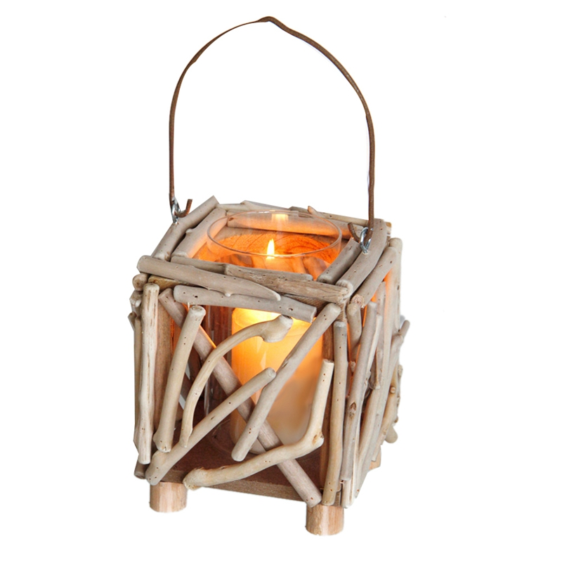 Hanging Decoration Creative Craft Lantern Candlestick Candle Holder Wooden Portable Candle Typhoon Lamp|Candle Holders| |  - title=