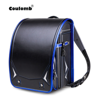 Coulomb Kid Backpack For Boys Japanese School Bag PU Randoseru Orthopedic Messenger Book Bags Japan Backpack A4 Bag 2020 New