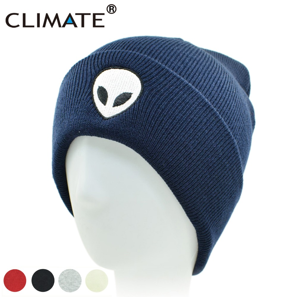 CLIMATE  Alien UFO Winter Beanie Warm Knitted Men Women Hat Outstar Saucer Space Aliens HipHop Soft Hat For Adult Teenagers Boy