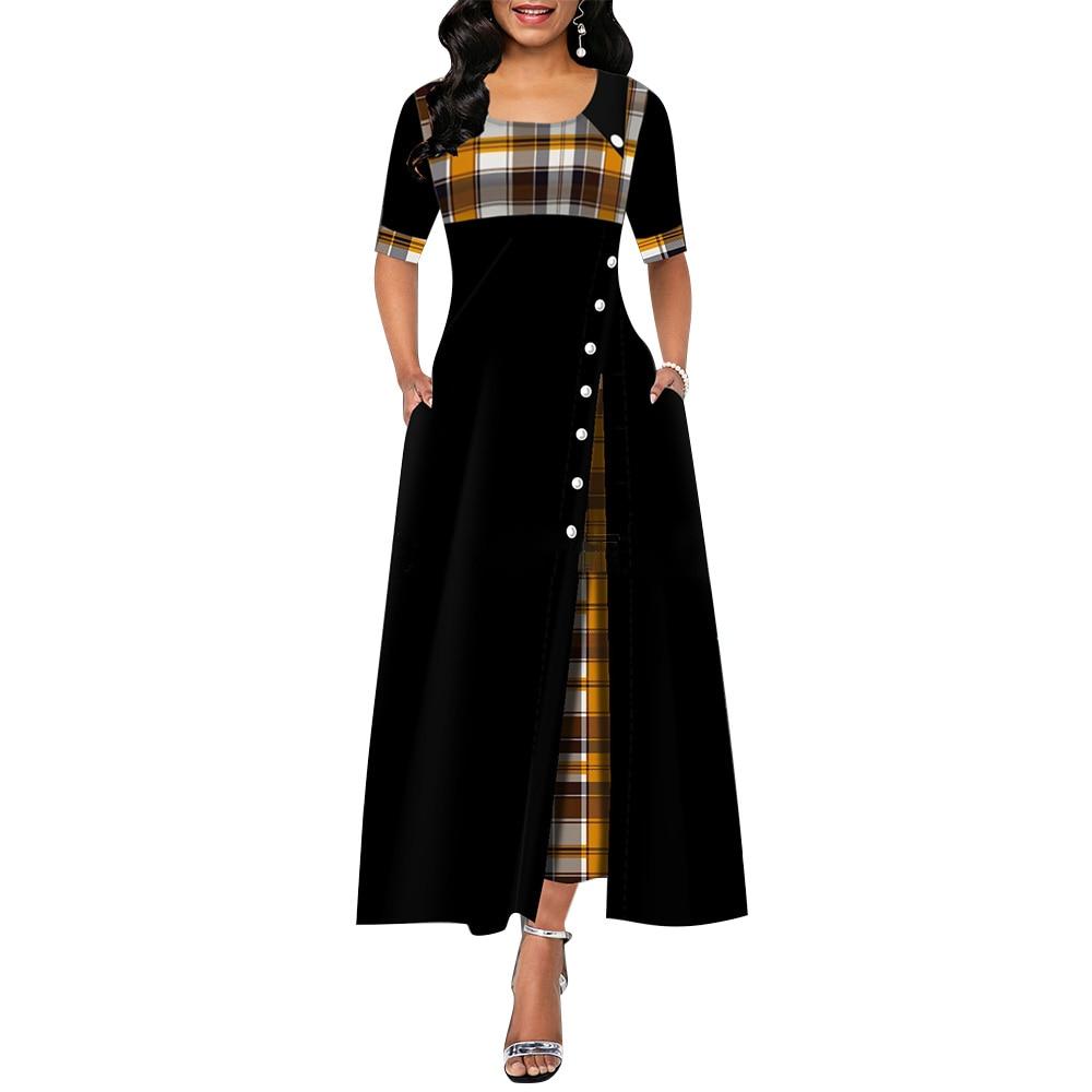 Elegant Long Dress Women Spring Plaid Print Party Dress Irregular Vintage Dresses Ladies Button A-Line 2020 New Fashion Dress