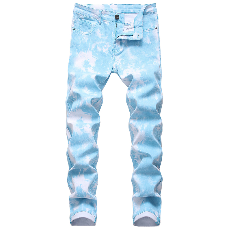 Sokotoo Men's fancy color black printed jeans Fashion snow washed plus size stretch pants