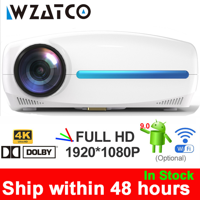 $ US $180.95 WZATCO C2 4K Full HD 1080P LED Projector Android 9.0 Wifi Smart Home Theater Video Proyector with Digital keystone correction