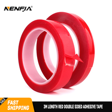 3m Length Red Double Sided Adhesive Tape High Strength Acrylic Gel Transparent Silicone No Traces Glue Sticker on Auto Accessory