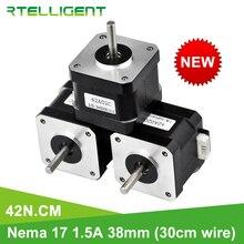 Rtelligent Motor paso a paso Nema 17, 38mm, 42, Nema17, 42BYGH, 42n. cm (59,5 oz.in), 4 conductores, para impresión de impresora 3D XYZ