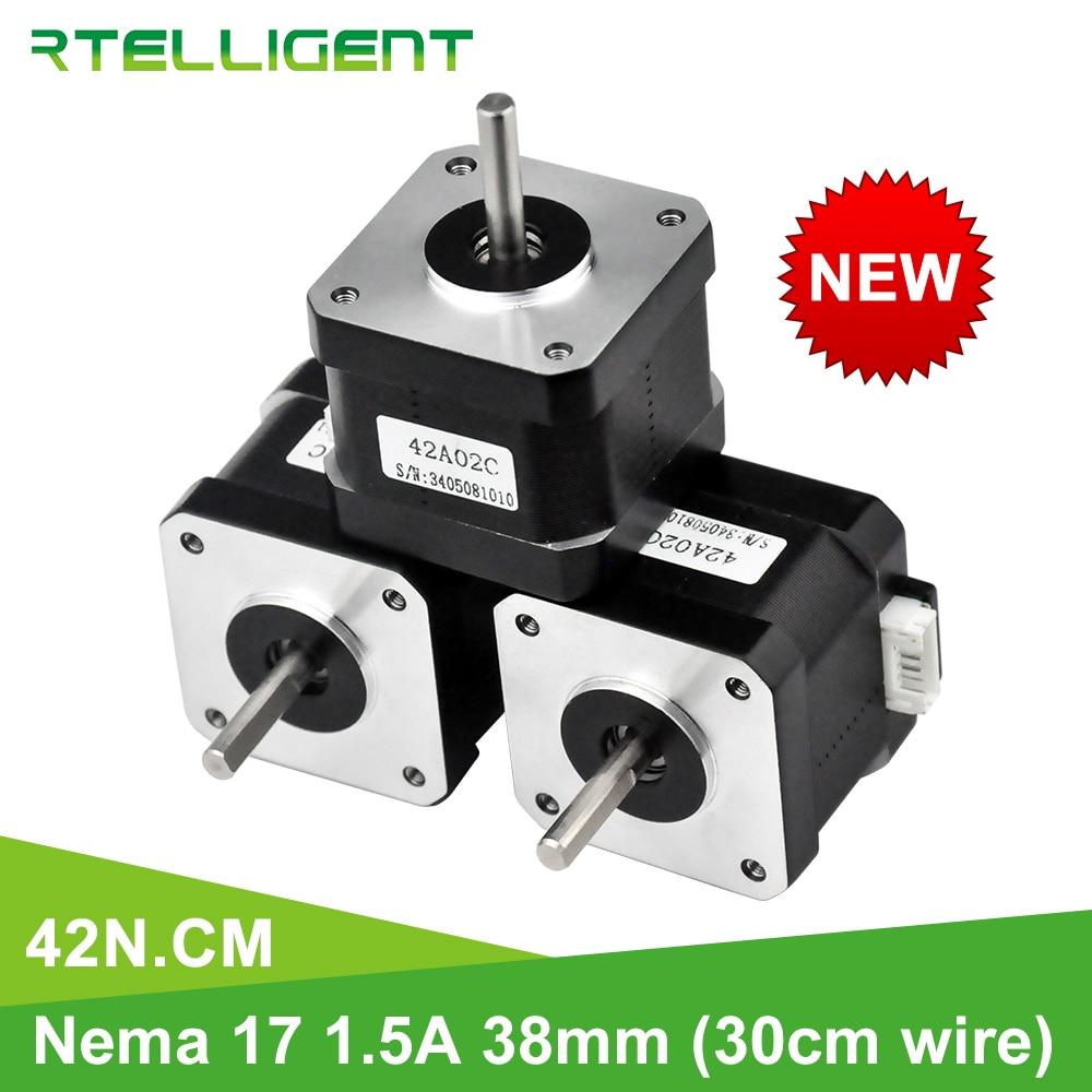 Rtelligent Nema 17 Stepper Motor 38mm 42motor Nema17 42BYGH 42N.cm (59.5oz.in) 4 lead stepper motor for 3D Printer Printing XYZ