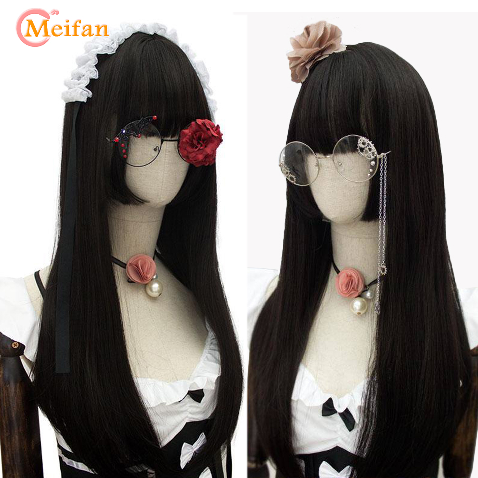 MEIFAN 80cm Long Lolita Wig Princess Cut Wig Three-knife Wig Princess Girl's Lady Sweet Cute Lolita Cosplay Anime Black Wig