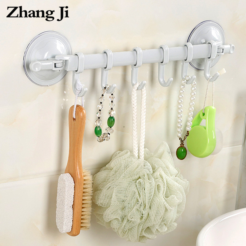 ZhangJi Bathroom Multi-functional Corner Shelf Simple Light Wall Shelf Towel Racks With Hooks Kitchen Suction Cup Hook Rack