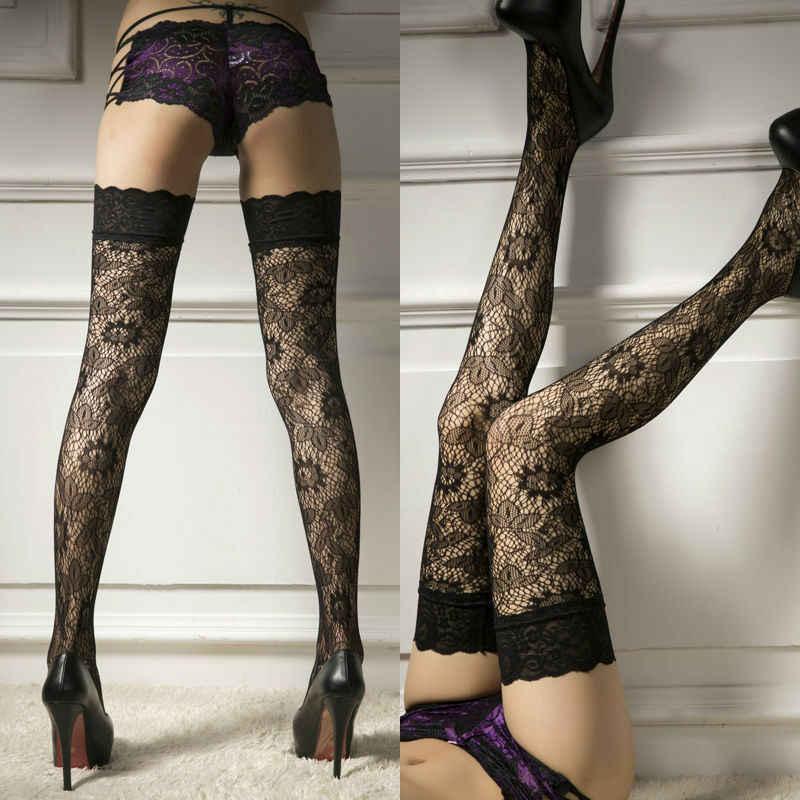 Wanita Stoking Jala Crochect Paha Tipis Celana Ketat Hitam Seksi Garis Elastic Stocking Renda Pakaian Dalam Wanita Bordir Pantyhose 2019
