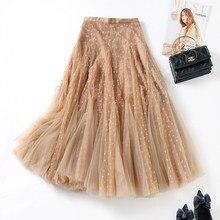 Womens Flocking Sweetheart Tulle Skirts Fashion High Waist 360 Degrees Hem Mesh pleated Skirt Mid Long INS 2021 New Summer Jupe