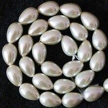 Jewelry-Making Charms Loose-Beads Teardrop Pearl Imitation White 5x7mm 7x9mm 9x13mm B1079