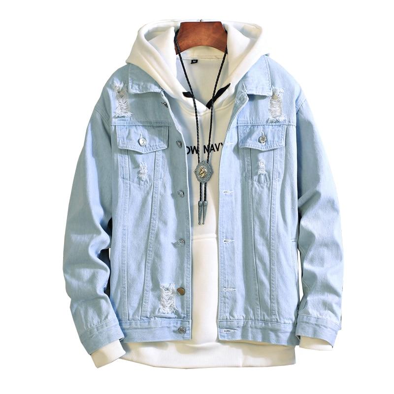 New Men Light Blue Jean Jacket Men Denim Jackets Outwear Coats Men Large Size Vintage Man Denim Jackets Streetwear Plus Size 3XL