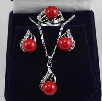 Juego de perlas para joyería de 10mm rojo Coral perla de concha del Mar del Sur pendientes CZ set anillo collar envío gratis
