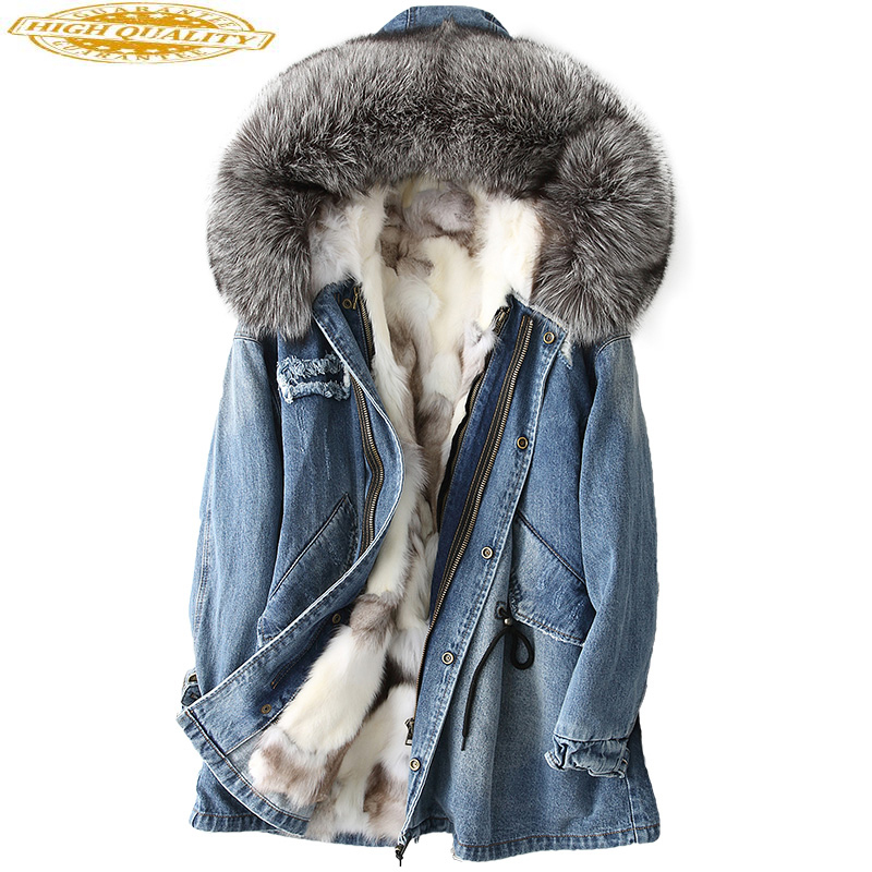 Natural Fox Fur Parka Real Fur Coat Female Denim Jacket Winter Coat Women Clothes 2019 Warm Outwear Manteau Femme MY4248