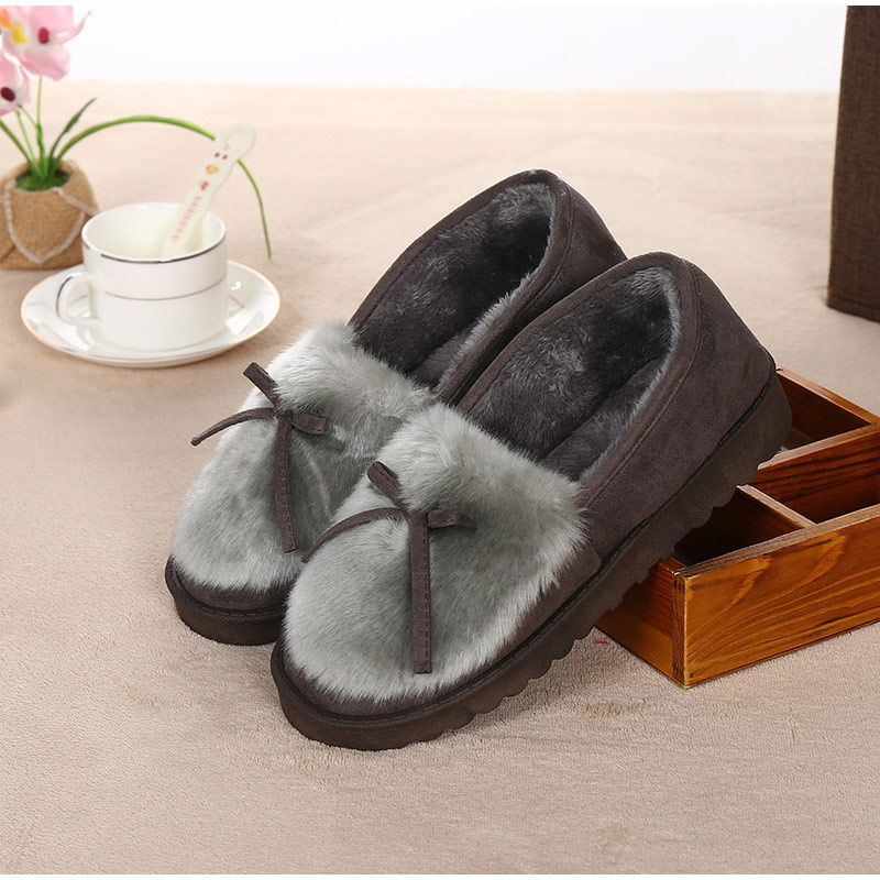 Female Platform Shallow House Slippers Indoor Fur Flat Ladies Furry Plush Women Warm Shoes Women's Casual Slip On Outdoor Home
