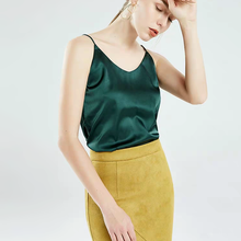 Eis Seide Spaghetti Sexy Tiefer V Neck Dark Grüne Matte Satin Grundlegendes Leibchen Strand Sonne Top Backless Tank Tops basis Unterhemd