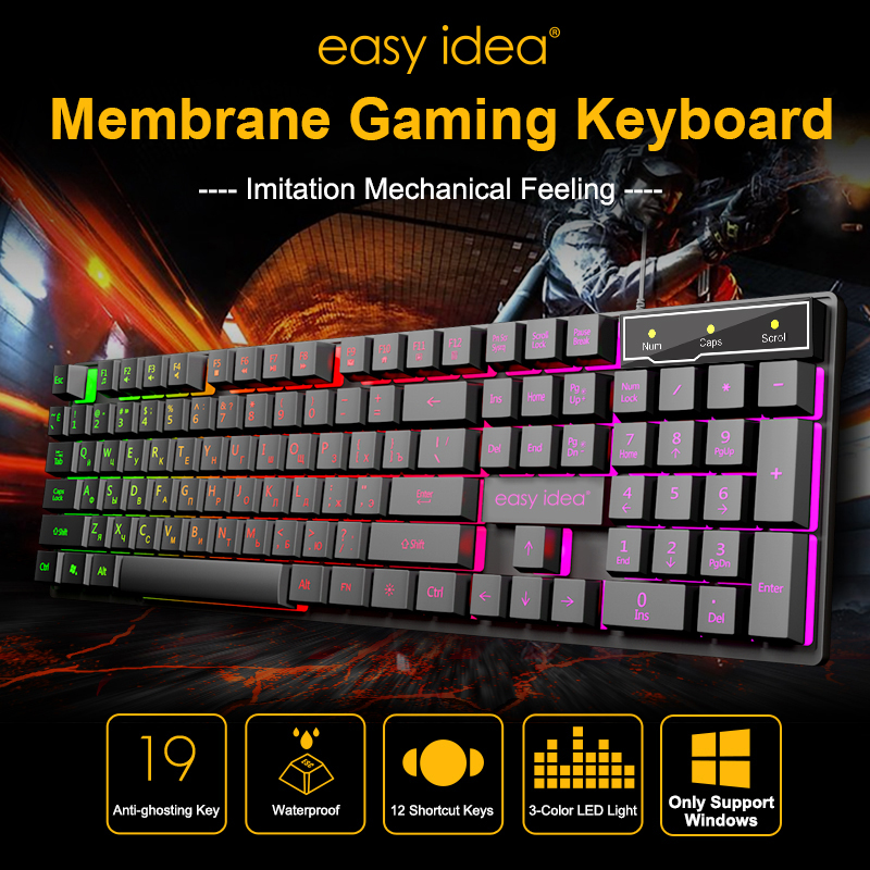 Wired Gaming Keyboard Backlit Keyboards USB 104 Keycaps Russian Keyboard Waterproof Computer Game Keyboards