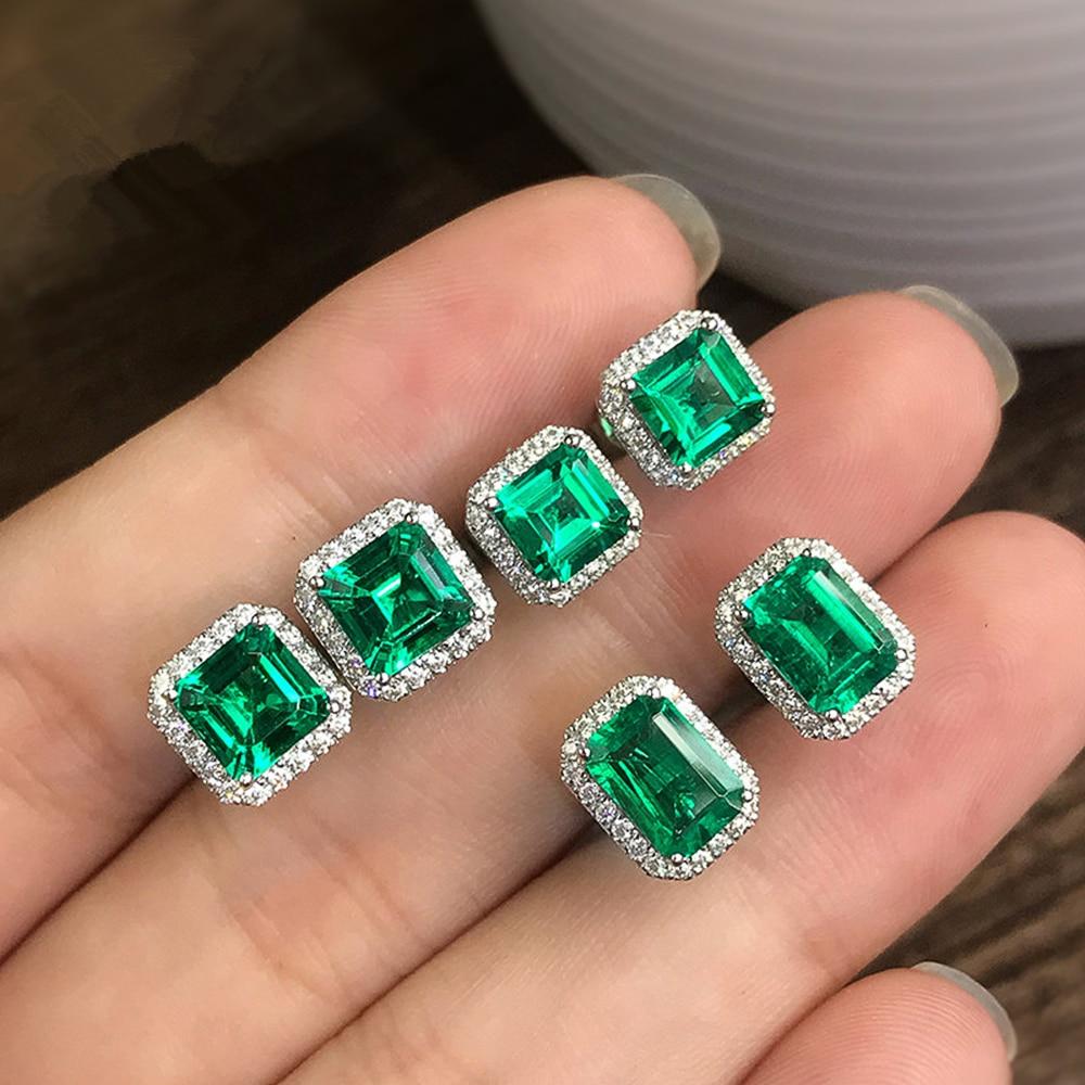 Huitan Gorgeous Green Cubic Zirconia Stud Earrings for Women Noble Wedding Party Earring Fine Birthday Gift Lady Fashion Jewelry