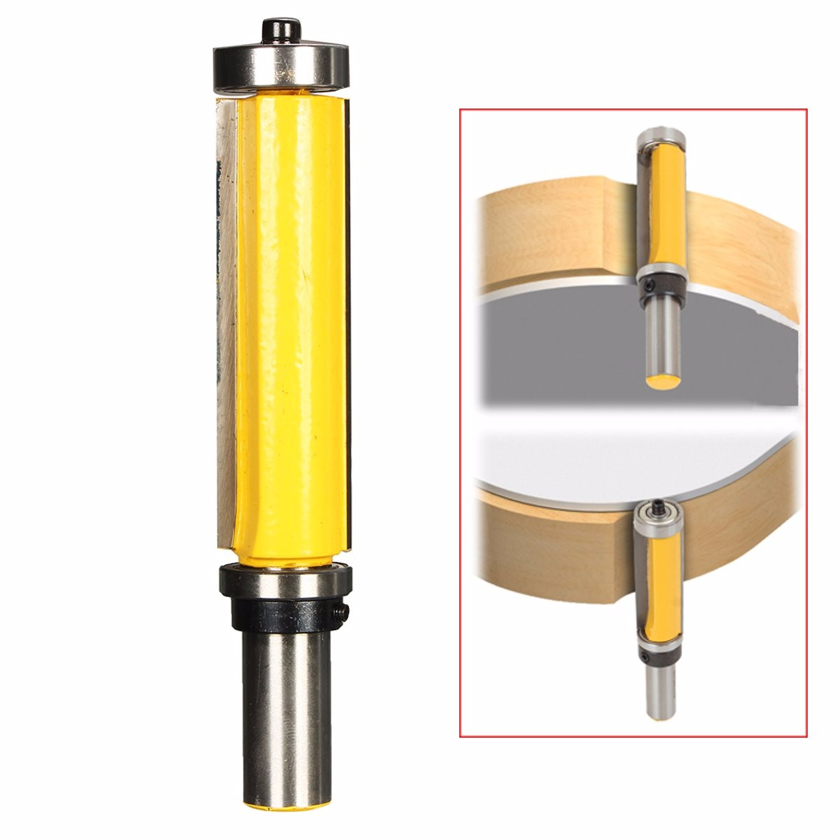 1pc Flush Trim Pattern Router Bit 1/2 Inch Shank Top & Bottom Bearing Woodworking Cutter Wood Cutting Milling Tool