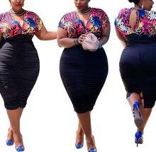 AYES Women Plus Size Dress Printed Short Sleeve Deep V-Neck Bandage Knee Length Dresses Sexy Fashion Vestidos Summer Outfits