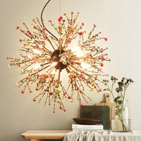 LukLoy NEW Colored Pearls Dandelion Chandeliers Bedroom Suspension Cherry Blossoms Lamp Modern Creative Handmade Pearls Lights