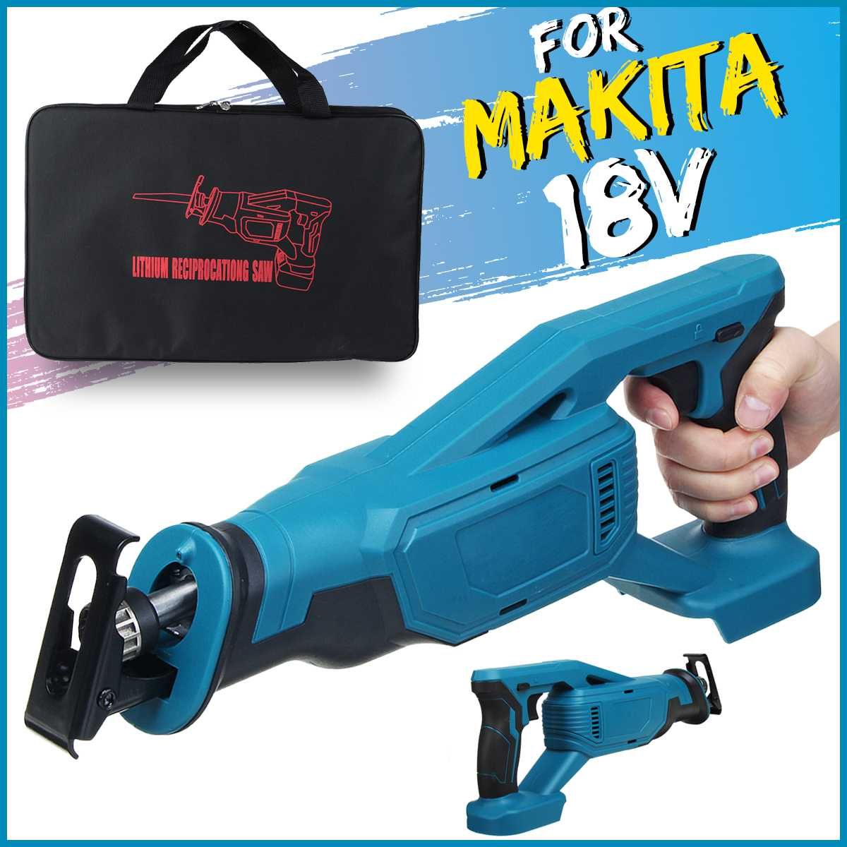 32mm Electric Cordless Reciprocating Saw Body Power Tool Woodworking Metal Cutting Electric Saw for Makita Battery 18V