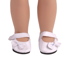 18 inch Girls doll shoes White bow dress shoes PU American newborn shoe Baby toys fit 43 cm baby dolls s225 18 inch girls doll shoes winter woolen slippers casual shoe american newborn accessories baby toys fit 43 cm baby dolls s129