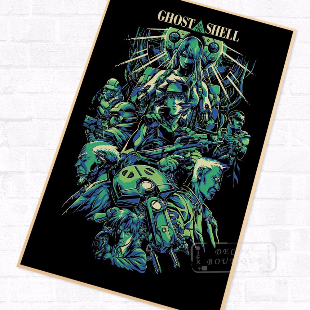 Darker <font><b>Ghost</b></font> <font><b>in</b></font> <font><b>the</b></font> <font><b>Shell</b></font> Anime Sci-Fi Movie Film Vintage Retro Cool Poster Canvas DIY Wall <font><b>Stickers</b></font> Home Posters Art Decor image
