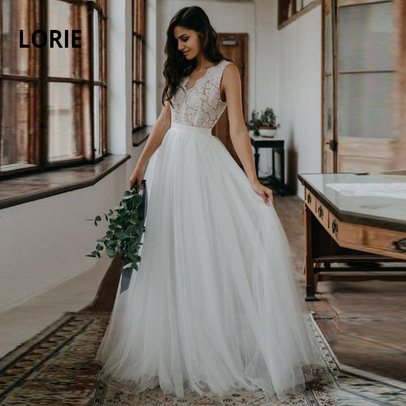 >LORIE Lace with Tulle Wedding Dresses 2019 Simple A-Line Wedding Gowns Boho Bride Dress Sleeveless <font><b>Backless</b></font> <font><b>vestido</b></font> <font><b>de</b></font> noiva