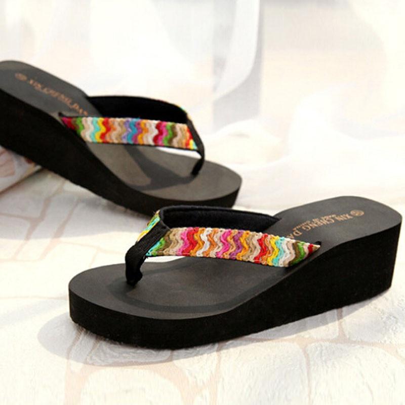 JAYCOSIN Summer Wedge Platform Sandals slippers Women Beach Flip Flops Casual shoes woman sandals Beach Flat Patch Lady Slippers 2