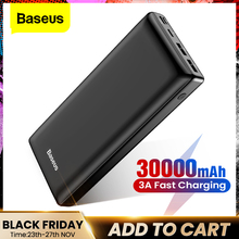 Baseus banco de potência 30000mah powerbank usb c rápido poverbank para xiaomi iphone 12 pro portátil carregador de bateria externa banco pover