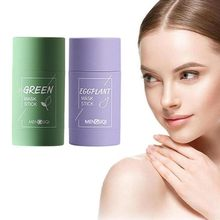 Green Tea Cleaning Solid Mask Eggplant Purifying Clay Stick Mask Oil Control Anti-Acne Mud Cream Beauty Facial Skin Care 40g