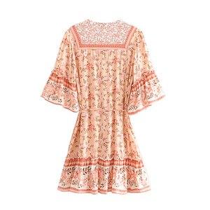 Image 2 - Đầm sang trọng nữ bộ thun in hoa tua rua Cổ Chữ V Bohemian Mini Mùa Hè Nữ Flare Tay Boho Áo vestidos