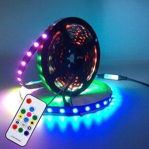 Taśma Led USB WS2812B WS2812 RGB 5050 Led listwa oświetleniowa wodoodporna elastyczna taśma światła zmiana koloru światła do dekoracji wnętrz