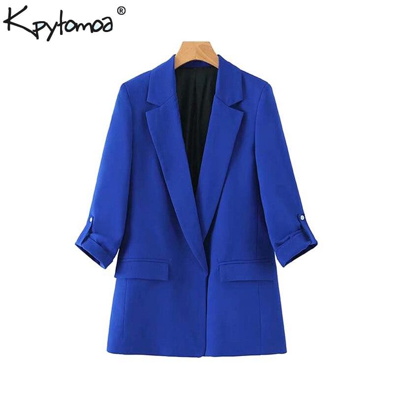 Vintage Stylish Office Lady Open Stitch Blazers Coat Women 2020 Fashion Notched Collar Three Quarter Sleeve Outerwear Chaqueta