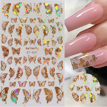 1pc Holographic 3D Butterfly Nail Art Stickers Adhesive Sliders Colorful DIY Golden Nail Transfer Decals Foils Wraps Decorations 1